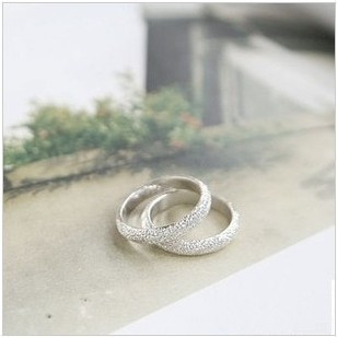 Free shipping Wholesale Fashion accessories Simple Life LOVERS Rings Silver sanded finger Ring Love Forever wedding Ring RJ605