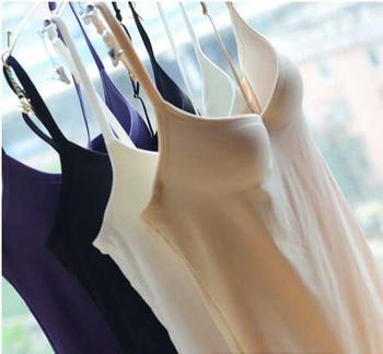 Fashion thin smooth high quality seamless belt pad bra basic spaghetti strap vest slim