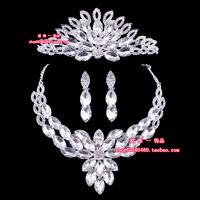 The bride accessories three pieces set necklace earrings hair accessory wedding jewelry wedding accessories 4158