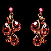 Popular bride accessories red no pierced ears small earrings wedding dress formal dress cheongsam accessories costume earrings