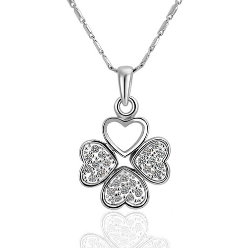 18KGP N474 Four Leaf Clover Necklaces 18K Platinum Plated Fashion Jewelry Nickel Free Necklace Rhinestone Crystal SWA Elements(China (Mainland))