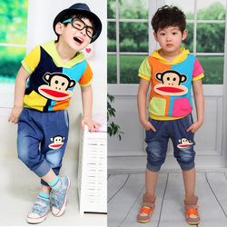 2013 New colorful Children's clothing,Short sleeve suit for summer,2 colours,suitable for 2 to 6 years boys and girls(China (Mainland))