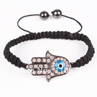Min. Order $10 SN716705  Hot Sale Shamballa Bracelet Hamsa Hand Bracelet Crystal Hand Gray color