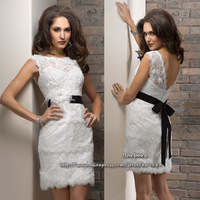 Custom Made Sheath Cute Mini Skirt Bateau Sleeveless Lace Designer Little White Dress Short Wedding Gowns Free Ship