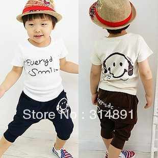 2013 summer children's wear male baby children's music headphones breeches short-sleeved T-shirt and pants +Free shipping