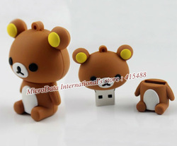 Popular Cartoon Bear 64GB 32GB 16GB 8GB 4GB USB 2.0 Flash Memory Pen Drive Stick Drives U Disk Sticks Pendrives Free Shipping(China (Mainland))