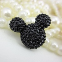 Free shipping fashion 200pcs/lot 19*23mm black lovely micky head shape Resin rhinestone flat back beads