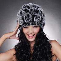 Chopop Fur Free shipping Hot Sale Genuine Rabbit fur knitted hat Beanie With Flowers Winter Ladies Cute Cap OEM Wholesale