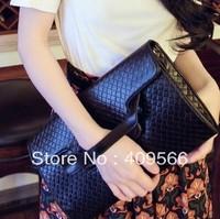 2013 knitted clutch women's handbag fashion black red white evening bag pu leather messenger bag FREE SHIPPING high quality