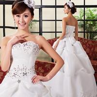 Free Shipping!New Arrival Sweet Princess Wedding Dress Handmade Sparkling Rhinestone Spring Wedding Dress