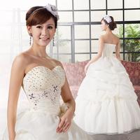 New Arrival Tube Top Handmade Sparkling Rhinestone Heart The Bride Wedding Dress Free Shipping!