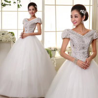 New Arrival 2013 Fashion Slit Neckline V-neck Puff Sleeve Lace Shoulder  Sweet Princess Wedding Dress ,Freeshipping