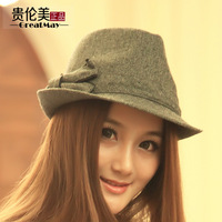 Autumn and winter women's vintage fashion slanting stripe bow fedoras fashion woolen jazz hat male