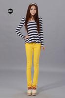 Elastic 100% cotton candy color casual pencil pants trousers multicolour female trousers