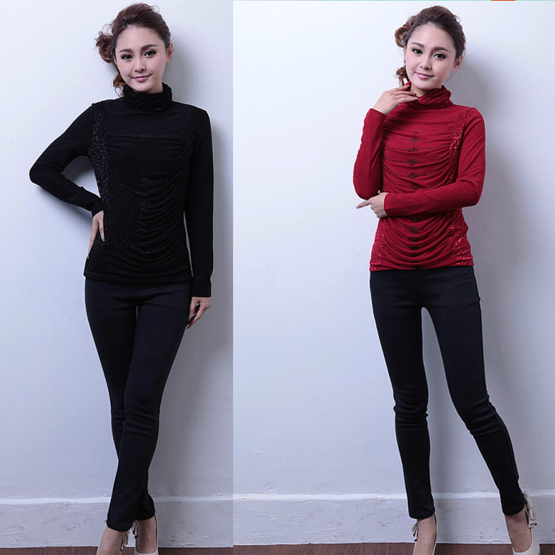 2013 autumn and winter new arrival plus size clothing slim rhinestones plus velvet gauze basic shirt long-sleeve T-shirt female(China (Mainland))