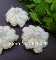 wholesale hand crochet appliques 3D rose headband flower with pearl middle scrapbooking sewing trim bow boutique DIY 100pcs/lot
