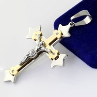 Top Grade Charming Silver Gold 316L Stainless Steel Bible Cross Pendant With Stainless Steel Chain Necklace Free Shipping