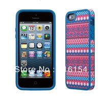 1 piece/lot Tribal red/blue decorative design fabric-backed Case Cover Skin For iPhone 5 fabric back case