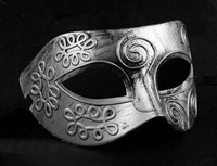 High Quality Silver Men's Masquerade Masks  in bulk 20 pcs Ancient Roman Styles Party Masks Wholesale