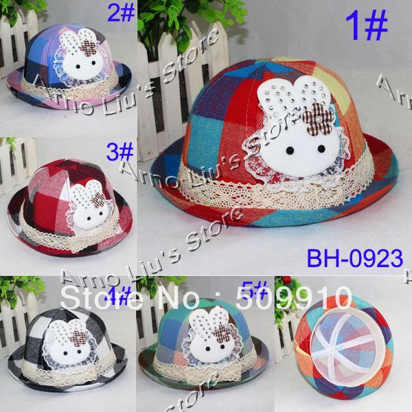 2013 NEW Baby Fedora Hat Children Canvas Princess Style Hat With Rabbit Kids Bucket Hat Round Cap 10pcs/lot Free Shipping(China (Mainland))