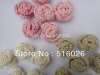 wholesale hand crochet appliques 3D rose headband flower scrapbooking sewing trim bow boutique DIY 100pcs/lot