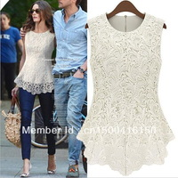 2013 Fashion Summer Tops Womens Blouse Sexy Lace T shirt O-Neck Sleeveless,2 colors,Free shipping