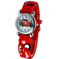 Free & Drop Shipping! 1pcs Red Lovely 3D Cartoon Car Watch Children Kids Girls Boys Students Quartz Wristwatches