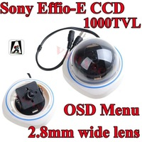 Vanxse CCTV 700TVL Sony Effio-E CCD Dome Security camera 2.8mm wide lens color camera OSD Menu