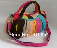 2014 NEW Arrival Shoulder Bags for Women(32*17*14cm)Pink Summer Girls broad Striped Printing Canvas Fashion Handbags Makeup Bag