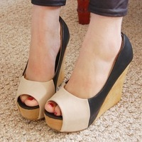 Shoes 2013 popular new arrival color block decoration platform wedges sandals open toe shoe women's shoes open toe platform