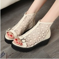 2013 Women Shoes Autumn fashion lace sexy high platform Wedges platform open toe Sandals women's Shoes ,flats