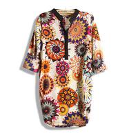 Sugar 2013 spring and summer women's medium-long multicolour flower national trend loose long-sleeve chiffon shirt