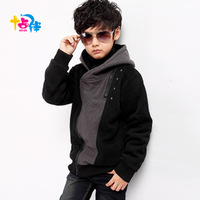Children's clothing wadded jacket male child thermal winter outerwear autumn and winter sweatshirt teenage jacket plus velvet