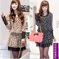 2013 summer women's 467709 kitten lace decoration chiffon long-sleeve dress