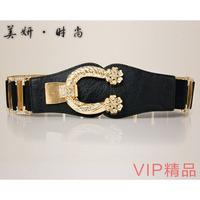Luxurious fashion rhinestone women's cummerbund black vintage fashion elastic wide belt cummerbund decoration belt trend
