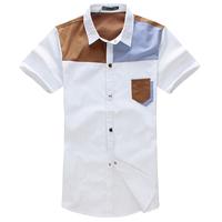 New British Fashion style Casual Mixed-colors Cotton Short Sleeve Mens Shirts free shipping JM003