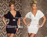 White black 2 colors women casual dress Free Shipping &Wholesale Elegnat Short sleeve ladies mini dresses new fashion 2014