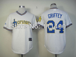 2013 Baseball Jerseys Seattle Mariners 24 Ken Griffey White Embroidery logos COOL BASE Size:48-56 Name Number All Stitched(China (Mainland))
