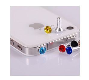 3.5mm Diamond ANTI DUST HEADPHONE JACK PLUG FOR IPHONE 4 4G 4S 3G 3GS k Universal series free shipping! (Min order$5)(China (Mainland))
