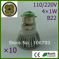 10pcs Retail LED Lamp B22 4X1W=50W Halogen Bulb Light Bulbs High Power LED Spotlight Free shipping warm/pure/cool white