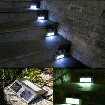 2pc Solar Power Steel Step Stairs Light LED Pathway Deck Path Wall Garden Lamp cgg