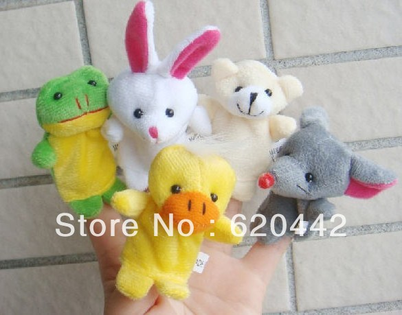 Free Shipping Baby Plush Toy,Finger Puppets,Talking Props(10 animal group)(China (Mainland))