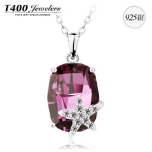New arrivals T400 made with swarovski elements crystal 925 Sterling Silver necklace for women Crystal stone
