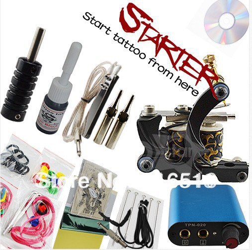 Tattoo Kit Starter Machine Gun Color Ink Power Supply Needles Set(China (Mainland))