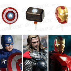 The Avengers Captain America Iron Man Thor Hammer Lightning Flash Earphones 3.5mm Dust Plug For iphone 4 4s 5 Samsung Mobile(China (Mainland))