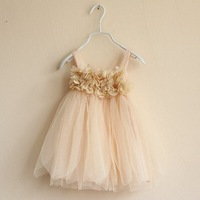free shipping Sky - boy female child princess dress . petals spaghetti strap tulle dress