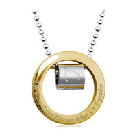 FREESHIPPING Stainless steel gold 361l eternal circle necklace male