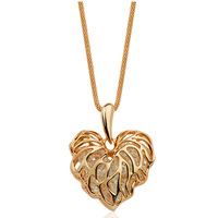 Accessories 14k gold cutout zircon peach heart necklace long design necklace