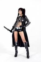Hot sales Black Rock Shooter patent leather cosplay costume suit coat+shorts+underwear+glove+belt halloween costume