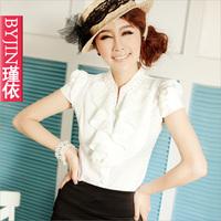 free shipping 2013 fashion Summer short-sleeve slim ol ruffle puff sleeve chiffon shirt women's shirt work wear